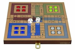 Folding Solid Wooden Ludo Board Game Glossy Finish