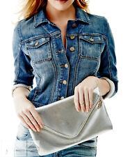 NWT GUESS Foldover Envelope Clutch Crossbody bag Handbag Purse Metallic Silver