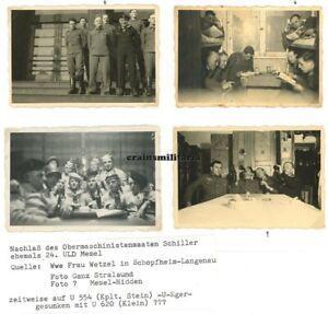 4x Orig. Foto Matrosen 24.ULD in Kaserne MEMEL Litauen 1940 // U-Boot U-620 KIA