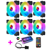 6 Pack 120mm RGB PC Case Fan LED Computer Air Cooling Fans Silent Remote