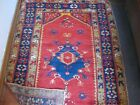 """Oriental Rug Turkish Estimated 1920's Wool Hand Woven Natural Dyes 5' x 3'6"""""""