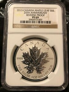 2013 Canada Silver Maple Leaf Reverse Proof - PF 69 NGC $5