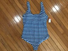 NWT Basic Editions Woman's Blue Striped One-Piece Swimsuit Padded Cups Size 14