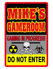 PERSONALIZED WARNING VIDEO GAME ROOM SIGN DURABLE ALUMINUM FULL COLOR Gamer #406