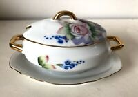 Vintage Lefton Sugar Jelly Jam Bowl w/Lid Floral Gold Trim Hand-Painted China
