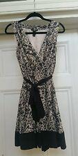 H&M wrap round gorgeous patterned black & cream dress us 8 uk 10 Eur 38