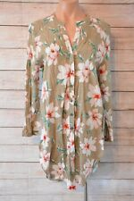 MY GIRL Dress Sz 14 Large 16 Brown red green floral tunic shirt dress or top