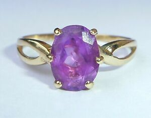 9ct Gold Amethyst Solitaire Ring, Size M