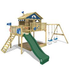 WICKEY Spielturm Klettergerüst Smart Coast Holz Schaukel Sandkasten Rutsche Grün