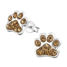 Sterling Silver 925 Dog / Cat Paw Crystal Stud Earrings - Brown
