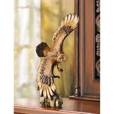 "large 13"" Rustic Soaring flying EAGLE carved wood look spirit patriotic statue"