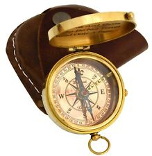 Marine Compass Leather Case Collectibles Nautical Antique Brass