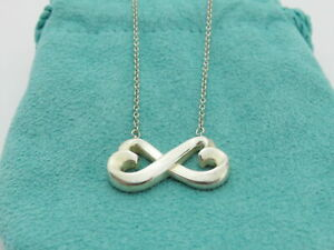 TIFFANY & CO Sterling Silver Double Loving Heart Pendant Necklace