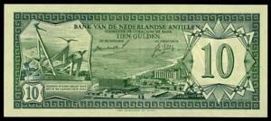 NETHERLANDS ANTILLES 10 GULDEN 1967 ARUBA  PICK # 9a  AU.  RARE BANKNOTE