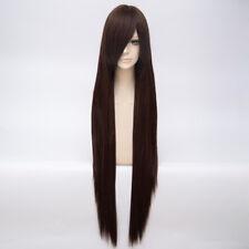 Anime 100CM Dark Brown Long Straight Women Basic Hair Wig+Cap Cosplay Halloween