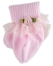 PINK Lace Trim Socks w/ Pink Rosebuds for American Girl Doll Clothes