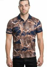 Men's Italian Navy short sleeve polo shirt  leopard print & chains pattern
