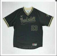 New Nike Men's L Vanderbilt Commodores Throwback Baseball Jersey 1.5 #23 Black