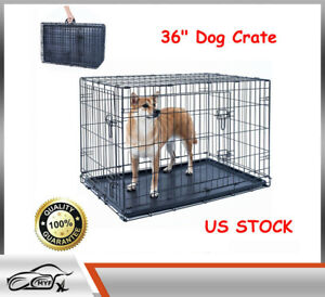 """36"""" Dog Crate Kennel Folding Pet Cage Metal 2 Door With Tray Black US"""
