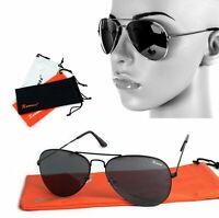 Damen Piloten Sonnenbrille Schwarz Festival Top Gun Retro Brille Black Edition