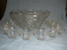 STUNNING  GLASS PUNCH BOWL 12 HANDLES CUPS
