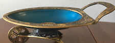 Vintage Cloisonne Brass and blue turquoise Israel Wheel Barrow Tamar Trinket