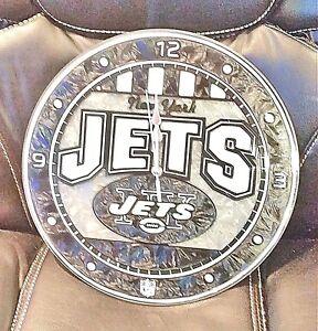 New York Jets ART GLASS CLOCK with Logo - NFL
