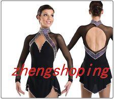 Black Girls' Ice Skating Dress Women's Competition Figure Dress Long sleeves8882
