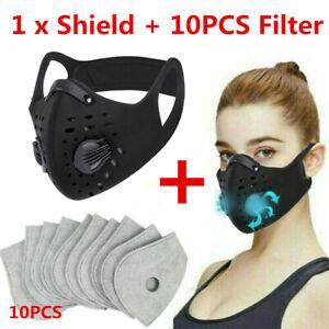 UK Activated Carbon Air Purifying Face Mask Cycling Reusable Filter Haze Valve
