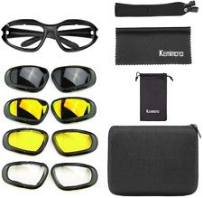 kemimoto Polarized Motorcycle Glasses, Riding Goggles with 4 Lens Kit for Outdoo