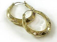 Octagon hoop earrgs Real 1/20 -14K gold filled Puffed earrings 1.25 iinch dmtr.