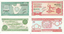 BURUNDI UNCIRCULATED BANKNOTES -2 different banknotes :10 & 20  Francs 2007