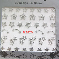 3D Nail Art Stickers Decals Transfers Metallic Gold & Silver Shooting Stars