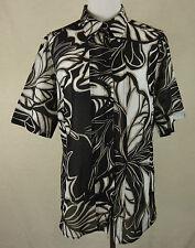 Elegante edle MADELEINE Bluse, Hemd Baumwolle+Seide schwarz-weiß-taupe Gr. M