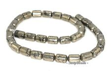 12X8MM PALAZZO IRON PYRITE GEMSTONE BARREL DRUM TUBE 12X8MM LOOSE BEADS 15.5""