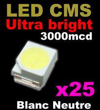 189/25# LED CMS Blanche PLCC2 / 3528 --25pcs-- 3000mcd