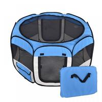 New Medium Pet Dog Cat Tent Playpen Exercise Play Pen Soft Crate T08M Blue