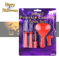 Deluxe 5 Pc Pumpkin Carving Tool Set Kit Kids Halloween Party Cutting Tools UK