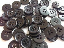 50 x BLACK RESIN  4 HOLE 14mm SEWING BUTTONS, SCRAPBOOKING, CRAFT ETC.,