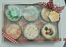 """Set of 6 Scented Fairy Cake Candles (Boxed and tied with Bow) Dia 2.5"""" Depth2"""""""