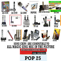 MAGIC SING MIC SONG CHIP POP 25 200 SONGS ALSO WORKS WITH 2019 ET23KPRO
