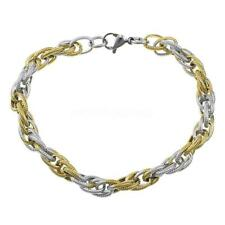 Women Men Gold Silver Jewelry Bracelet Rope Chain Stainless Steel Bangle
