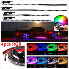 4x RGB LED Under Car Tube Strip Underglow Neon Light Body Kits Phone App Control