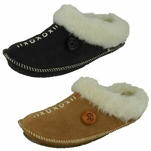 Ladies Free Step 'Alicia' Tan Or Charcoal Warm Lined Mule Slippers