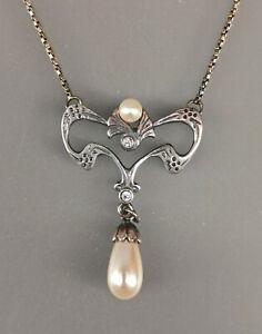 9901782 925er Silber Jugendstil-Collier floral Swarovskisteine Zuchtperle