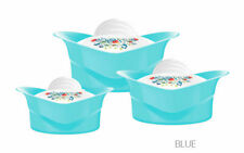 3pc Regalia Hot Pot Food Warmer Storage Round Insulated Casserole Set Blue