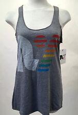 Rebel Yell Women's Racerback Tank Top Rainbow RY Logo Heather Grey Size L NWT
