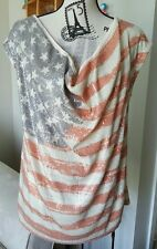 New listing Sz 0X Plus Women's Inc Cowl Neck Sequin Us American Flag Top 4th of July