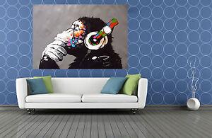 Framed art print painting DJ  ape monkey chimp headphones  Canvas  Australia