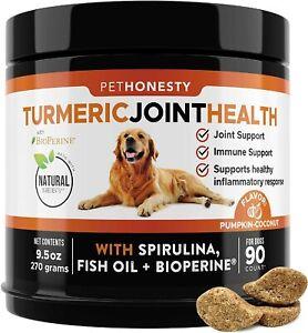 PetHonesty Turmeric Curcumin Dog Hip Joint Arthritis Immunity Support 90 Chews
